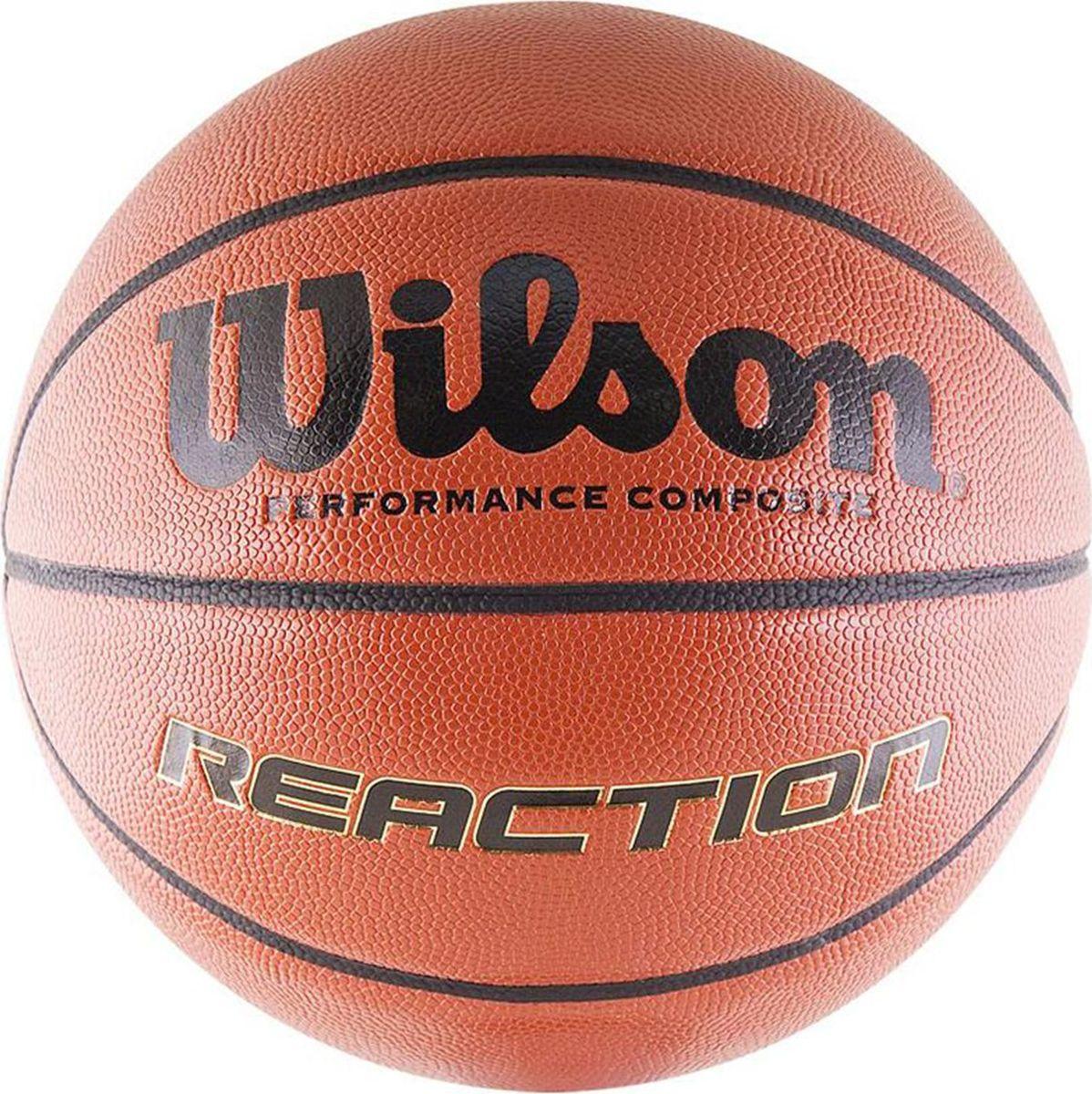 Мяч баскетбольный Wilson Reaction, цвет: кирпичный. Размер 5X5475Баскетбольный мяч Wilson Reaction отлично подходит для комфортных тренировок и игр команд любого уровня.Покрышка мяча выполнена из современного композитного материала ACL (Absorbent Composite Leather) на основе микрофибры. Этот материал обладает высокой способностью впитывать влагу и пот. Камера закрывается специальной системой, сохраняющей максимум воздуха и давления.Мяч обладает большой цепкостью, он не выскальзывает из рук во время броска или дриблинга. Баскетбольный мяч рекомендован для тренировок и соревнований команд высокого уровня.Размер: №5.УВАЖАЕМЫЕ КЛИЕНТЫ!Обращаем ваше внимание на тот факт, что мяч поставляется в сдутом виде. Насос в комплект не входит.