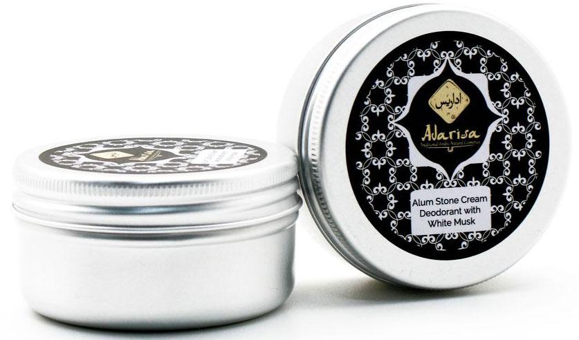 Adarisa Алунитовый крем-дезодорант с белым мускусом, 50 грADAR0139Натуральный крем-дезодорант с белым мускусом обеспечит самую деликатную защиту от пота и неприятного запаха. Это уникальное средство на основе алунита оценят по достоинству все представительницы прекрасного пола – его легким цветочным, изысканным и утонченным ароматом, в котором присутствуют упоительные нотки белого мускуса, хочется наслаждаться каждый день! Кристалл алунит - название цельного натурального минерала горно-вулканического происхождения, богатого алюмокалиевыми квасцами. Его превосходные дезодорирующие, освежающие и бактерицидные свойства позволяют справляться с повышенным потоотделением и характерным запахом без какого-либо вреда для нежной кожи подмышечных впадин. Можно сказать, что этот дезодорант создан самой Природой. В нем не содержится спирта, талька и синтетических отдушек, благодаря чему он не засоряет пор, не пересушивает кожу и не оказывает негативного влияния на работу потовых желез. При этом натуральный дезодорант не просто маскирует запах пота и устраняет избыточную влажность на коже подмышек, но и препятствует развитию комфортной для вредоносных бактерий среды.Мягкий крем-дезодорант легко наносится, не пачкает одежду и оставляет после себя ощущение чистоты и комфорта, а его волшебный аромат сопровождает Вас в течение всего дня.