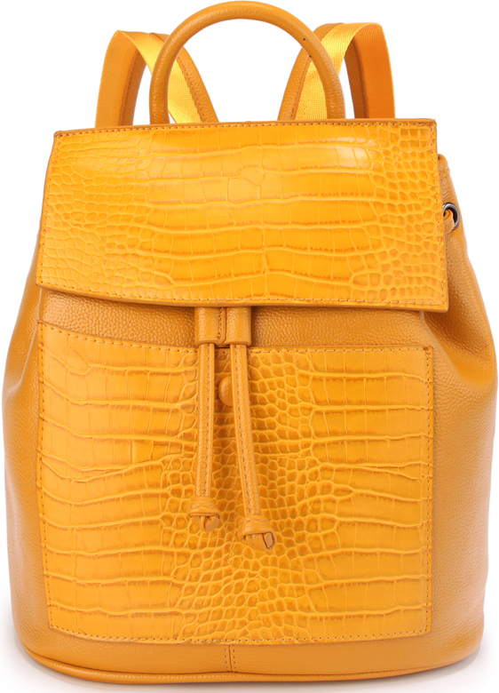 Рюкзак женский OrsOro, цвет: желтый. D-436/323008Женский рюкзак OrsOro с клапаном на кнопке выполнен из искусственной кожи высокого качества. Рюкзак имеет одно вместительное отделение на молнии. В отделении присутствуют внутренний карман на молнии, внутренний карман накладной карман на молнии, внутренний карман для телефона с окантовкой.Снаружи имеется внешний передний карман на кнопке, внешний карман на молнии на задней стенке.Рюкзак обладает удобной ручкой и двумя регулируемыми плечевыми лямками.
