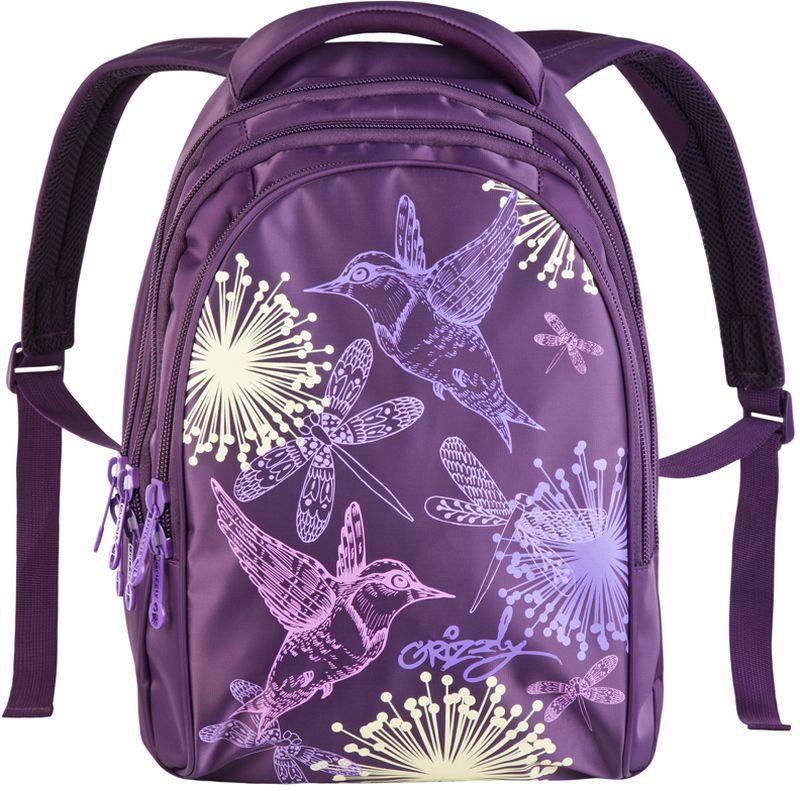 Grizzly Рюкзак детский цвет фиолетовый RD-622-4/3RA-777-1/2Рюкзак молодежный, три отделения, внутренний карман на молнии, внутренний карман-пенал для карандашей, жесткая анатомическая спинка, мягкая укрепленная ручка, укрепленные лямки