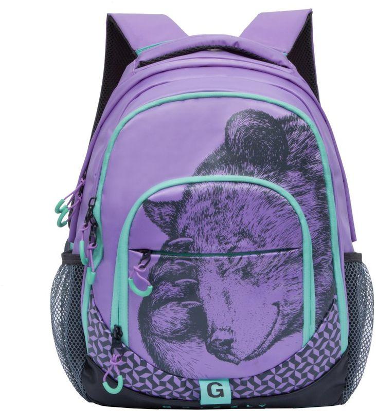 Grizzly Рюкзак детский цвет фиолетовый RD-752-1/4RD-752-1/4Рюкзак молодежный, два отделения, карман на молнии на передней стенке, боковые карманы из сетки, внутренний карман для гаджетов на молнии, внутренний составной пенал-органайзер, анатомическая спинка, дополнительная ручка-петля, мягкая укрепленная ручка