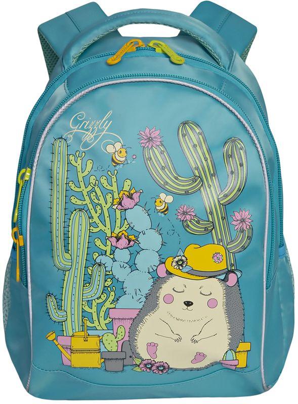 Grizzly Рюкзак детский цвет голубой RG-762-1/2RG-762-1/2Рюкзак школьный, два отделения, внутренний карман-пенал для карандашей, жесткая анатомическая спинка, мягкая укрепленная ручка, укрепленные лямки, светоотражающие элементы с четырех сторон
