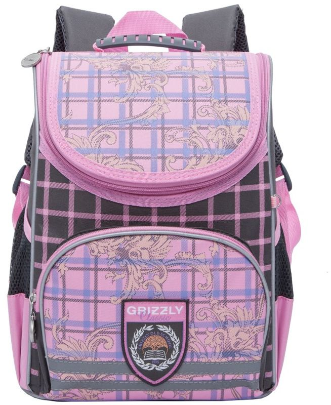 Grizzly Рюкзак детский цвет розовый RA-773-1/2RA-773-1/2Рюкзак школьный, одно отделение, объемный карман на молнии на передней стенке, боковые карманы из сетки, откидное жесткое дно, разделительная перегородка-органайзер, анатомическая спинка, дополнительная ручка-петля, укрепленные лямки, брелок-катафот, светоотражающие элементы с четырех сторон