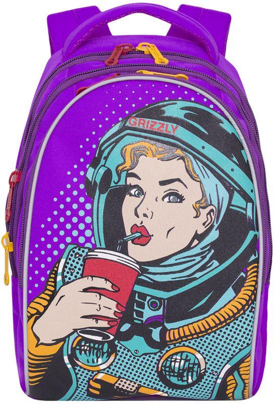 Grizzly Рюкзак детский цвет фиолетовый RD-758-1/1RD-758-1/1Рюкзак молодежный, три отделения, внутренний карман на молнии, внутренний карман-пенал для карандашей, жесткая анатомическая спинка, мягкая укрепленная ручка, укрепленные лямки.