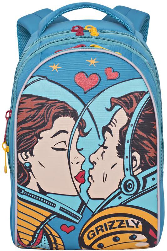 Grizzly Рюкзак детский цвет голубой RD-758-1/2RD-758-1/2Рюкзак молодежный, три отделения, внутренний карман на молнии, внутренний карман-пенал для карандашей, жесткая анатомическая спинка, мягкая укрепленная ручка, укрепленные лямки.