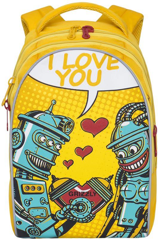 Grizzly Рюкзак детский цвет желтыйRD-758-1/3Рюкзак молодежный, три отделения, внутренний карман на молнии, внутренний карман-пенал для карандашей, жесткая анатомическая спинка, мягкая укрепленная ручка, укрепленные лямки.