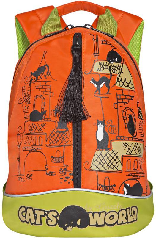 Grizzly Рюкзак дошкольный цвет оранжевыйRS-759-1/4Рюкзак малый, одно отделение, карман на молнии на передней стенке, укрепленная спинка, дополнительная ручка-петля, укрепленные лямки, светоотражающие элементы с четырех сторон
