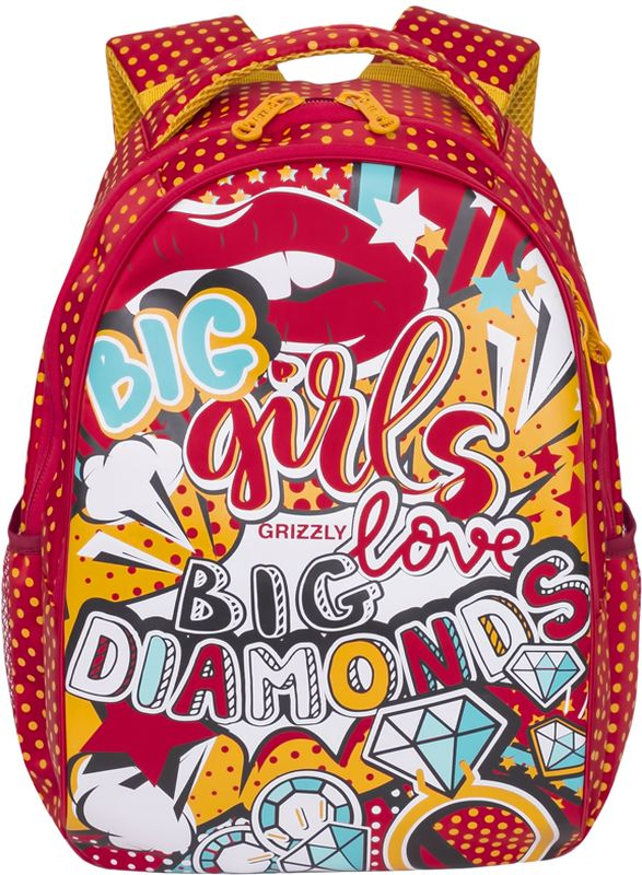 Grizzly Рюкзак детский цвет красныйRD-758-2/1Рюкзак молодежный, два отделения, боковые карманы из сетки, внутренний карман на молнии, анатомическая спинка, мягкая укрепленная ручка, укрепленные лямки