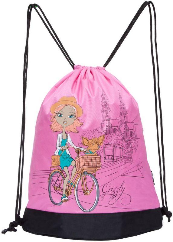 Grizzly Мешок для сменной обуви цвет розовый OM-790-13/1730396Объемный мешок для обуви, одно отделение, боковой карман на молнии, дополнительная ручка-петля, лямки из шнура