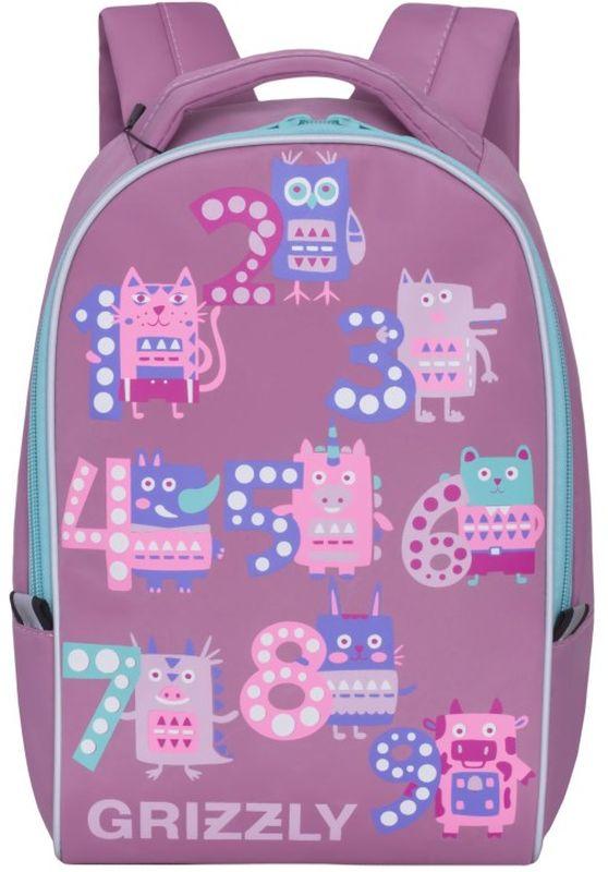 Grizzly Рюкзак дошкольный цвет розовый730396Рюкзак малый, одно отделение, укрепленная спинка, мягкая укрепленная ручка, укрепленные лямки, светоотражающие элементы с четырех сторон