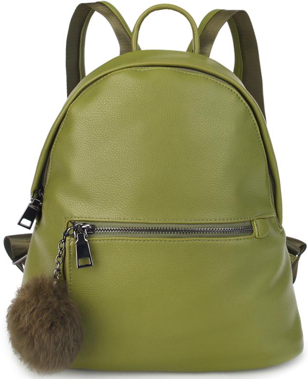 Рюкзак женский OrsOro, цвет: оливковый. D-440/223008Женский рюкзак OrsOro выполнен из искусственной кожи высокого качества. Рюкзак имеет одно отделение, закрывается на молнию с 2 бегунками. Внутри присутствуют карман на молнии и 2 кармана для телефона.Снаружи имеется внешний карман на пластиковой молнии, украшенный меховым пушком.Рюкзак обладает удобной ручкой и двумя регулируемыми плечевыми лямками.