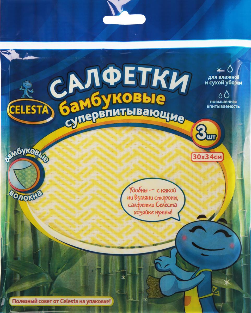 Салфетки бамбуковые Celesta, супервпитывающие, цвет: желтый, белый, 30 х 34 см, 3 штRC-100BPCСалфетки из бамбукового волокна предназначены для сухой и влажной уборки различных поверхностей. Не оставляют ворсинок и разводов, идеально впитывают воду и грязь.Стирать при температуре не выше 30°C. Не гладить, не отбеливать. Состав: 70% бамбуковое волокно, 20 % полиэстер, 10% вискоза. Размер салфетки: 30 см х 34 см