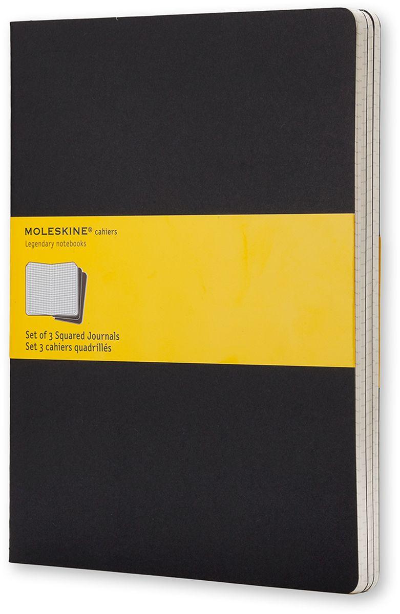 Moleskine Набор блокнотов Cahier Journal Xlarge 60 листов в клетку цвет черный 3 штQP322Набор блокнотов Moleskine Cahier Journal Xlarge отличаются гибкой и прочной картонной обложкой и хорошо заметной прошивкой на корешке. Внутренний блок состоит из 60 листов бумаги в клетку, последние 16 листов отделяются. Есть карман для заметок на отдельных листах. В набор из 3 штук вложена открытка с историей Moleskine.