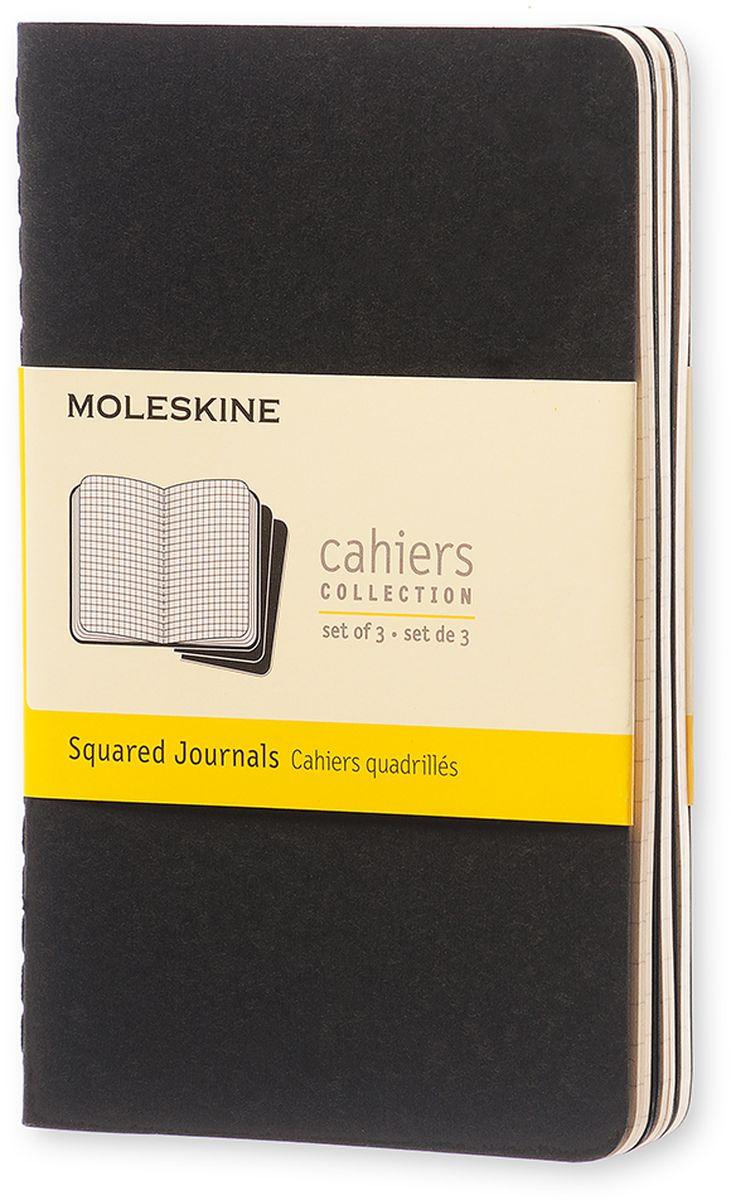 Moleskine Набор блокнотов Cahier Journal Pocket 32 листа в клетку цвет черный 3 шт730396Тетради Cashier от Moleskine отличаются гибкой и прочной картонной обложкой черного цвета и хорошо заметной прошивкой на корешке. Последние 16 листов отделяются. Есть карман для заметок на отдельных листах. В каждый набор из 3 штук вложена открытка с историей Moleskine.