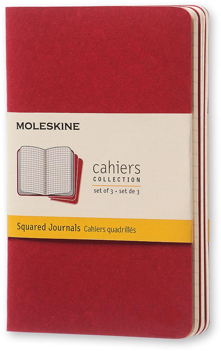 Moleskine Набор блокнотов Cahier Journal Pocket 32 листа в клетку цвет клюквенный 3 шт730396Тетради Cashier от Moleskine отличаются гибкой и прочной картонной обложкой клюквенного цвета и хорошо заметной прошивкой на корешке. Последние 16 листов отделяются. Есть карман для заметок на отдельных листах. В каждый набор из 3 штук вложена открытка с историей Moleskine.