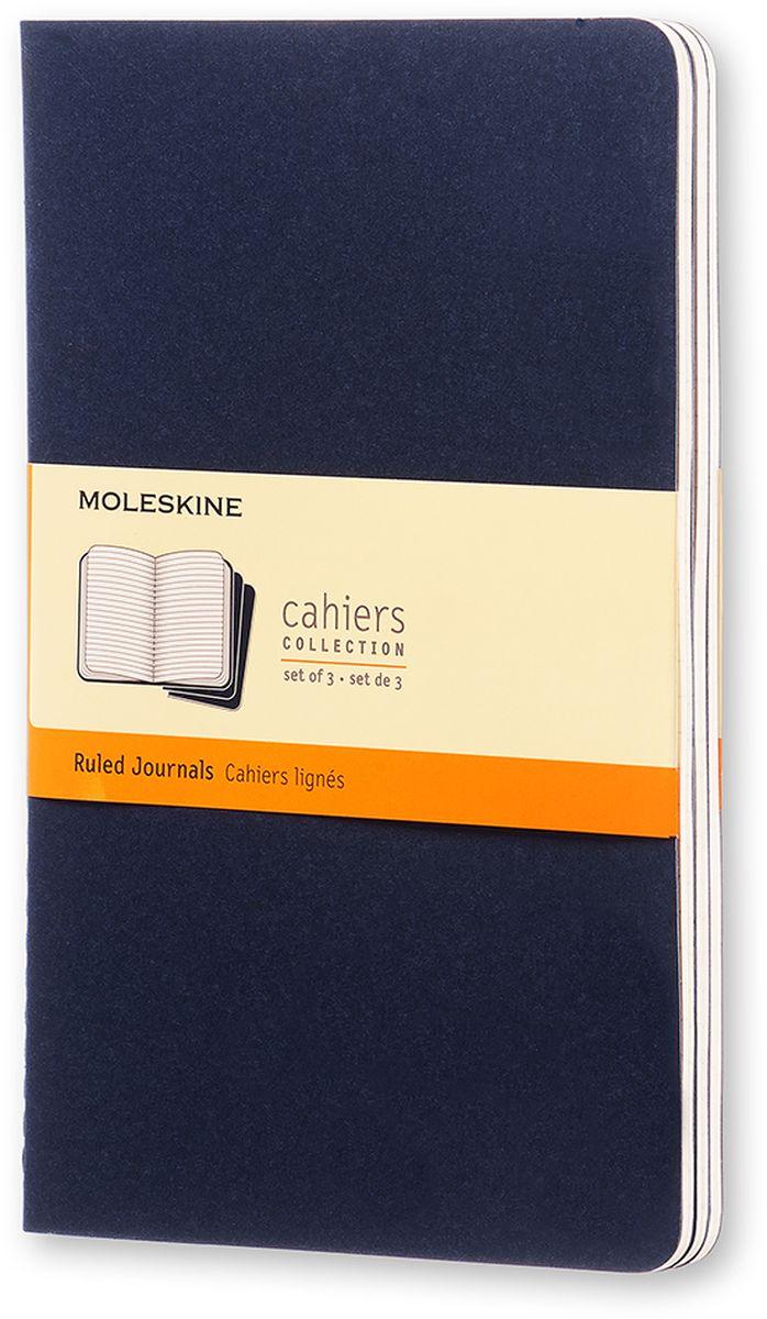 Moleskine Набор блокнотов Cahier Journal Large 40 листов в линейку цвет темно-синий 3 штCH216Набор блокнотов Moleskine Cahier Journal Large отличаются гибкой и прочной картонной обложкой и хорошо заметной прошивкой на корешке. Внутренний блок состоит из 40 листов бумаги в линейку, последние 16 листов отделяются. Есть карман для заметок на отдельных листах. В набор из 3 штук вложена открытка с историей Moleskine.