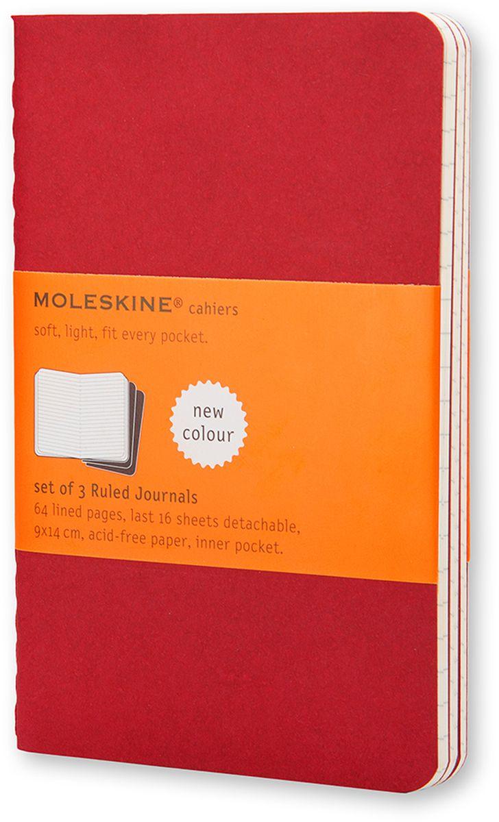 Moleskine Набор блокнотов Cahier Journal Large 40 листов в линейку цвет клюквенный 3 штCH116Набор блокнотов Moleskine Cahier Journal Large отличаются гибкой и прочной картонной обложкой и хорошо заметной прошивкой на корешке. Внутренний блок состоит из 40 листов бумаги в линейку, последние 16 листов отделяются. Есть карман для заметок на отдельных листах. В набор из 3 штук вложена открытка с историей Moleskine.