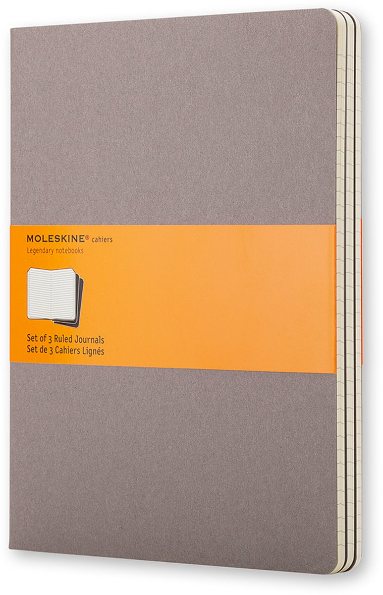 Moleskine Набор блокнотов Cahier Journal Xlarge 60 листов в линейку цвет серый 3 штCH321Набор блокнотов Moleskine Cahier Journal Xlarge отличаются гибкой и прочной картонной обложкой и хорошо заметной прошивкой на корешке. Внутренний блок состоит из 60 листов бумаги в линейку, последние 16 листов отделяются. Есть карман для заметок на отдельных листах. В набор из 3 штук вложена открытка с историей Moleskine.