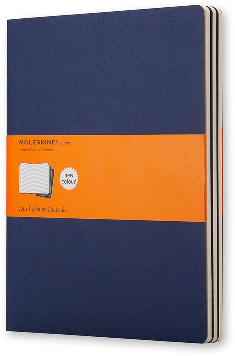 Moleskine Набор блокнотов Cahier Journal Xlarge 60 листов в линейку цвет темно-синий 3 шт730396Тетради Cashier размера Extra Large от Moleskine отличаются гибкой и прочной картонной обложкой цвета индиго и хорошо заметной прошивкой на корешке. Последние 16 листов отделяются. Есть карман для заметок на отдельных листах. В каждый набор из 3 штук вложена открытка с историей Moleskine.