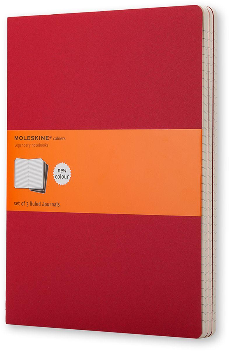Moleskine Набор блокнотов Cahier Journal Xlarge 60 листов в линейку цвет клюквенный 3 штCH121Набор блокнотов Moleskine Cahier Journal Xlarge отличаются гибкой и прочной картонной обложкой и хорошо заметной прошивкой на корешке. Внутренний блок состоит из 60 листов бумаги в линейку, последние 16 листов отделяются. Есть карман для заметок на отдельных листах. В набор из 3 штук вложена открытка с историей Moleskine.