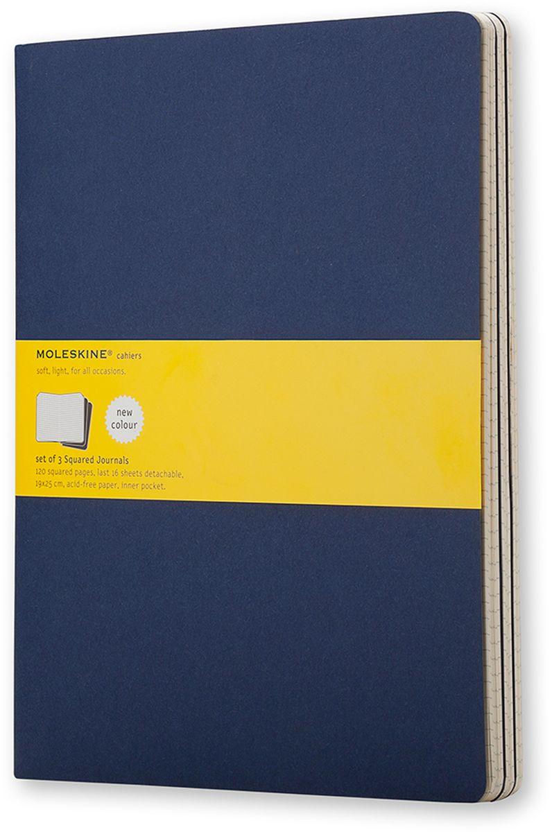 Moleskine Набор блокнотов Cahier Journal Xlarge 60 листов в клетку цвет темно-синий 3 штCH222Набор блокнотов Moleskine Cahier Journal Xlarge отличаются гибкой и прочной картонной обложкой и хорошо заметной прошивкой на корешке. Внутренний блок состоит из 60 листов бумаги в клетку, последние 16 листов отделяются. Есть карман для заметок на отдельных листах. В набор из 3 штук вложена открытка с историей Moleskine.