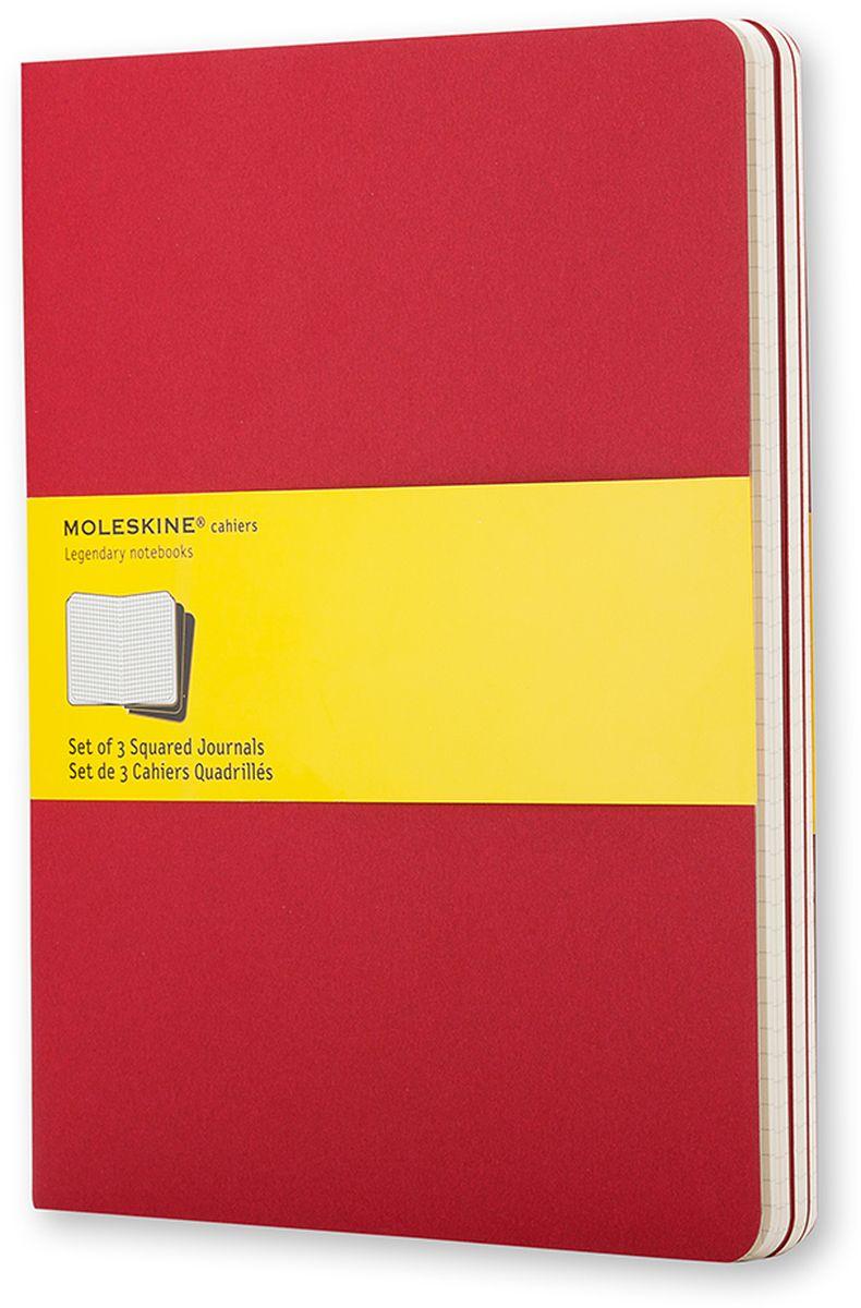 Moleskine Набор блокнотов Cahier Journal Xlarge 60 листов в клетку цвет клюквенный 3 шт72523WDТетради Cashier размера Extra Large от Moleskine отличаются гибкой и прочной картонной обложкой клюквенного цвета и хорошо заметной прошивкой на корешке. Последние 16 листов отделяются. Есть карман для заметок на отдельных листах. В каждый набор из 3 штук вложена открытка с историей Moleskine.