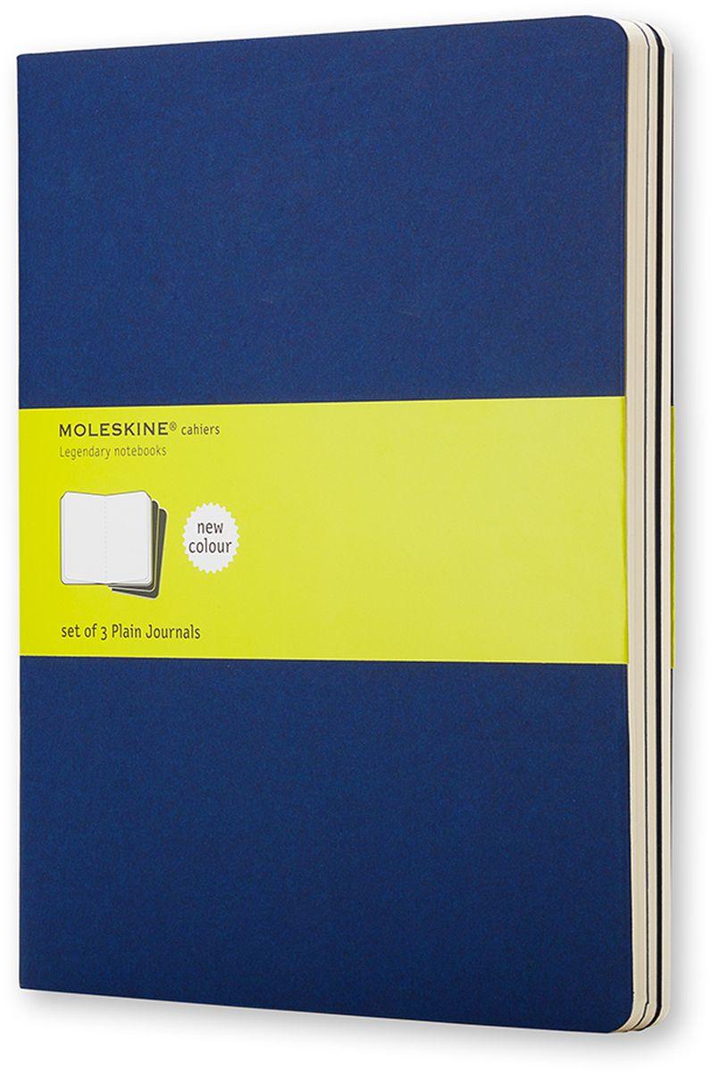 Moleskine Набор блокнотов Cahier Journal Xlarge 60 листов без разметки цвет темно-синий 3 шт730396Тетради Cashier размера Extra Large от Moleskine отличаются гибкой и прочной картонной обложкой цвета индиго и хорошо заметной прошивкой на корешке. Последние 16 листов отделяются. Есть карман для заметок на отдельных листах. В каждый набор из 3 штук вложена открытка с историей Moleskine.