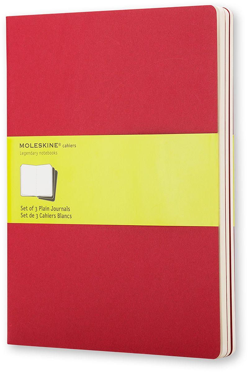 Moleskine Набор блокнотов Cahier Journal Xlarge 60 листов без разметки цвет клюквенный 3 шт730396Тетради Cashier размера Extra Large от Moleskine отличаются гибкой и прочной картонной обложкой клюквенного цвета и хорошо заметной прошивкой на корешке. Последние 16 листов отделяются. Есть карман для заметок на отдельных листах. В каждый набор из 3 штук вложена открытка с историей Moleskine.