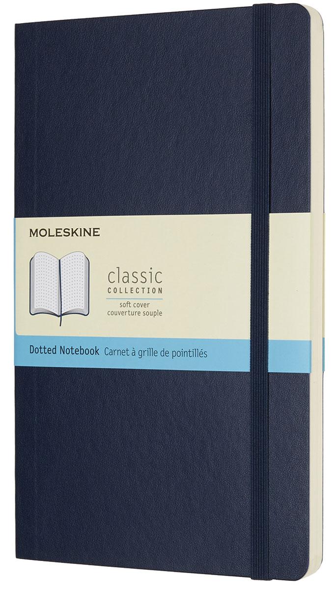 Moleskine Блокнот Classic Soft 96 листов с пунктирной разметкой цвет синий430786Блокнот размера Large в мягкой, но прочной обложке приспосабливается к движениям тела и легко помещается в карман. Он станет для тебя надежным спутником в путешествии и идеально подойдет для записи мыслей и заметок. Этот продукт выполнен в шитом переплете с мягкой обложкой со скругленными углами, с листами из бескислотной бумаги, закладкой, эластичной застежкой и вместительным внутренним карманом, куда вложена открытка с историей Moleskine.