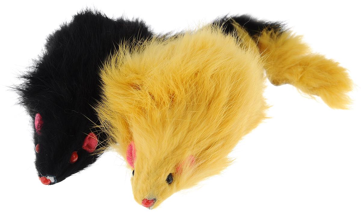 Игрушка для кошек Triol Мышь, цвет: желтый, черный, 2 штЧ-08100_желтый/черныйИгрушка для кошек Triol Мышь привлечет внимание вашей пушистой охотницы. Забавные мышки яркого цвета выполнены из пластика и натурального меха. Играя с этой забавной игрушкой, маленькие котята развиваются физически, а взрослые кошки и коты поддерживают свой мышечный тонус. Мышки не позволят заскучать вашему любимцу и увлекут его на долгое время.