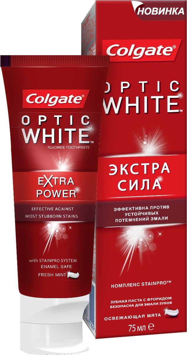 Colgate Зубная паста Optic White экстра сила, 75 мл04015320012Новая отбеливающая зубная паста Colgate Optic White Экстра сила помогает устранить потемнения эмали и предотвратить их появление при регулярном использовании. Эффективна против устойчивых потемнений эмали от кофе, чая и красного вина.Для ослепительно белоснежной улыбки.С клинически протестированным комплексом StainPro . Детям до 6 лет рекомендуется использовать количество зубной пасты размером с горошину под присмотром взрослых. Не глотать.