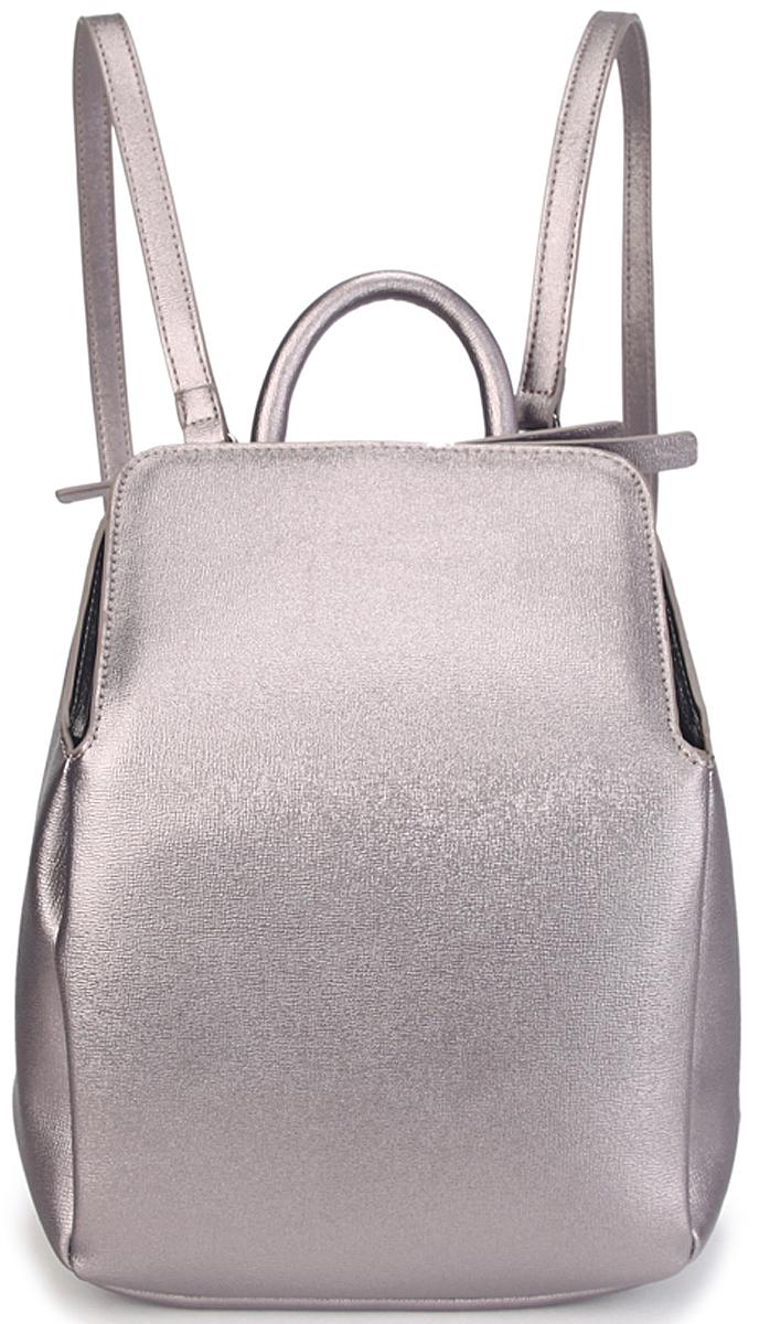 Рюкзак женский OrsOro, цвет: серый металлик. D-431/2L39845800Женский рюкзак OrsOro выполнен из искусственной кожи высокого качества. Рюкзак имеет одно вместительное отделение на молнии. В отделении присутствуют внутренний карман на молнии, карман для телефона с окантовкой.Снаружи имеется задний карман на молнии.Рюкзак обладает удобной ручкой сверху для переноски и двумя регулируемыми плечевыми лямками.