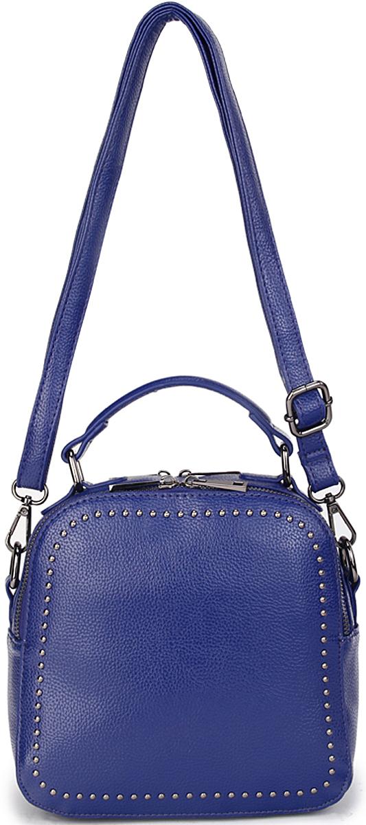 Сумка-рюкзак женская OrsOro, цвет: синий. D-433/323008Женская сумка-рюкзак OrsOro выполнена из искусственной кожи высокого качества. Сумка имеет 2 отделение на молнии. В отделении присутствуют внутренний карман для телефона с окантовкой, внутренний карман на молнии.Снаружи имеется внешний горизонтальный карман на молнии на задней стенке.Сумка обладает удобной ручкой сверху для переноски и двумя регулируемыми плечевыми лямками из экокожи.