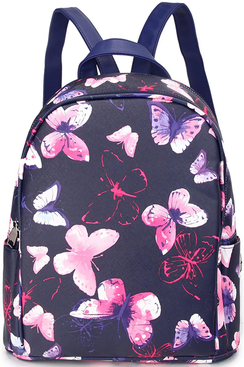 Сумка женская OrsOro, цвет: темно-синий, розовый. D-438/6579995-400Рюкзак с двуми отделениями, внутренний карман-перегородка на молнии, карман внутренний для телефона, 2 внешних боковых кармана, внешний карман на задней стенке.
