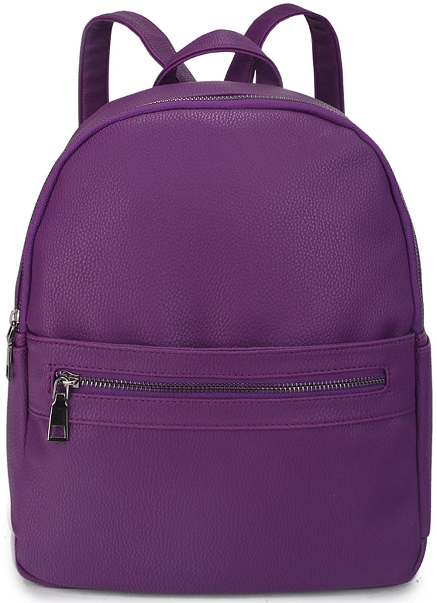Рюкзак женский OrsOro, цвет: фиолетовый. D-443/1L39845800Женский рюкзак OrsOro выполнен из искусственной кожи высокого качества. Рюкзак имеет одно отделение, закрывается на молнию. Внутри карман на молнии.Снаружи имеется 2 внешних боковых кармана, внешний передний карман на молнии и под ним карман на кнопке.Рюкзак обладает удобной ручкой и двумя регулируемыми плечевыми лямками.