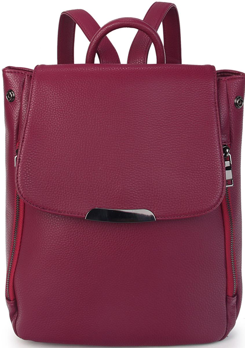 Рюкзак женский OrsOro, цвет: фиолетовый. D-446/223008Женский рюкзак OrsOro с клапаном выполнен из искусственной кожи высокого качества. Рюкзак имеет одно отделение, закрывается на молнию. Внутри карман на молнии и карман для телефона.Снаружи имеются кнопки по бокам, два внешних передних кармана на молнии и задний кармана на молнии.Рюкзак обладает удобной ручкой и двумя регулируемыми плечевыми лямками.