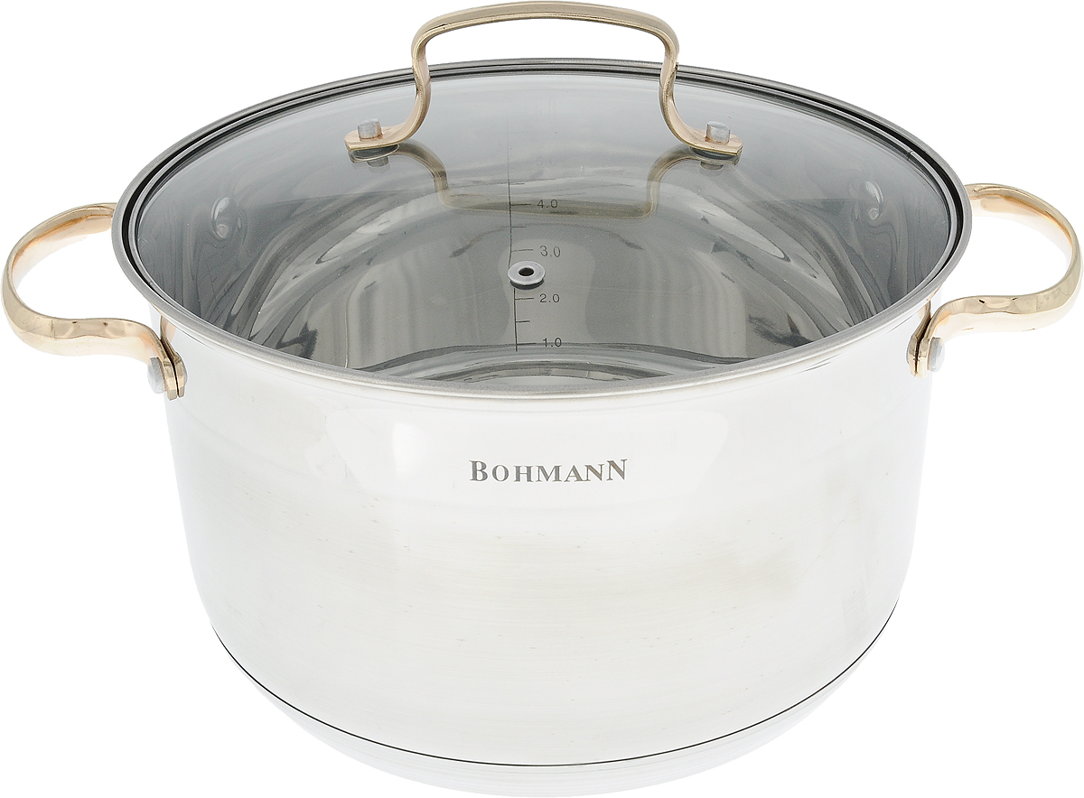 Кастрюля Bohmann с крышкой, 6,6 л. 1924BHG2179358Кастрюля Bohmann изготовлена из высококачественной нержавеющей стали с внешней матовой и внутренней зеркальной полировкой. Нержавеющая сталь обладает высокой стойкостью к коррозии и кислотам. Прочность, долговечность и надежность этого материала, а также первоклассная обработка обеспечивают практически неограниченный запас прочности и неизменно привлекательный внешний вид. Кастрюля имеет многослойное капсульное дно с алюминиевым основанием, которое быстро и равномерно накапливает тепло и так же равномерно передает его пище. Капсульное дно позволяет готовить блюда с минимальным количеством воды и жира, сохраняя при этом вкусовые и питательные свойства продуктов. Применение технологии многослойного дна создает эффект удержания тепла - пища готовится и после отключения плиты благодаря термоаккумулирующим свойствам посуды. Посуда оснащена удобными металлическими ручками. Крышка выполнена из жаропрочного стекла, снабжена металлическим ободом и отверстием для выпуска пара. Внутренние стенки дополнены отметками литража. Можно использовать на газовых, электрических, галогеновых, стеклокерамических, индукционных плитах. Можно мыть в посудомоечной машине. Ширина (с учетом ручек): 33 см. УВАЖАЕМЫЕ КЛИЕНТЫ!Обращаем ваше внимание на тот факт, что объем кастрюли указан максимальный, с учетом полного наполнения до кромки. Шкала на внутренней стенке кастрюли имеет меньший литраж.