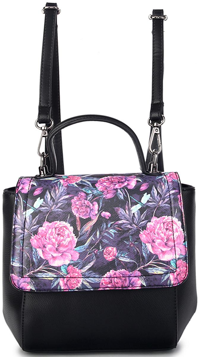 Сумка-рюкзак женская OrsOro, цвет: черный, розовый. D-434/323008Женская сумка-рюкзак OrsOro с клапаном на замке-защелке выполнена из искусственной кожи высокого качества. Сумка имеет одно вместительное отделение на пластиковой молнии. В отделении присутствуют внутренний карман на молнии, внутренний карман-перегородка, 2 внутренних кармана для телефона.Снаружи имеется внешнийзадний кармана на молнии.Сумка обладает удобной ручкой и двумя регулируемыми плечевыми лямками.