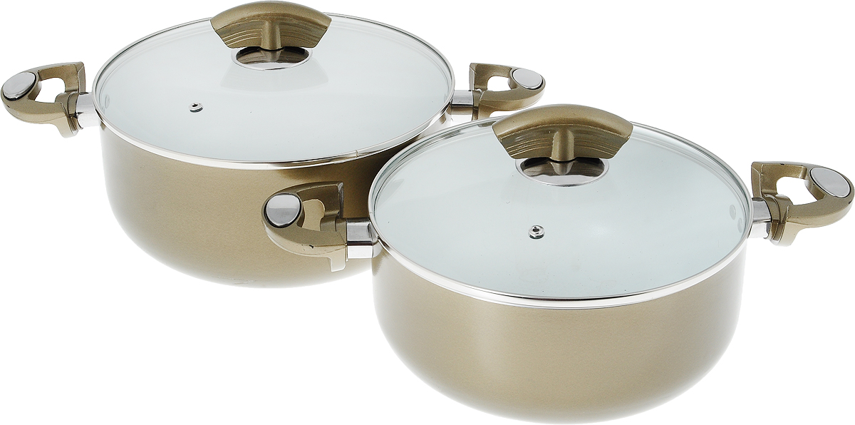 Набор посуды Bohmann Gold Series, с керамическим покрытием, 4 предмета68/5/2Набор посуды Bohmann включает 2 кастрюли и 2 крышки. Кастрюли выполнены из прессованного алюминия. Слой керамического антипригарного покрытия дарит посуде противопригарные свойства. Пища никогда не будет прилипать к посуде, даже если вы используете минимум масла или жира, а чем меньше жира - тем меньше калорий. Толстые стенки и дно обеспечивают равномерное распределение тепла. Посуда оснащена удобными пластиковыми ручками. Крышки выполнены из жаропрочного стекла, снабжены металлическим ободом и отверстием для выпуска пара. Можно использовать на газовых, электрических, галогеновых, стеклокерамических, индукционных плитах. Можно мыть в посудомоечной машине. Объем кастрюль: 3,8 л; 5,3 л. Диаметр кастрюль: 24 см; 26 см. Высота стенки кастрюль: 9,5 см; 11 см. Ширина кастрюль (с учетом ручек): 38 см; 40 см. Диаметр основания: 17,5 см; 19 см.