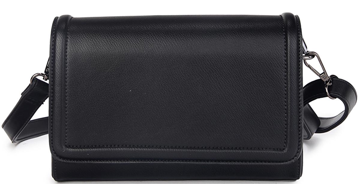 Сумка женская OrsOro, цвет: черный. D-407/1579995-400Сумка с клапаном на кнопках, и на пластиковой молнии с одним отделением, внутренний карман и внутренний накладной карман на молнии, карман для телефона. Внешний карман на пластиковой молнии, ручка - из материала сумки. Регулируемый плечевой ремень - длина 125 см
