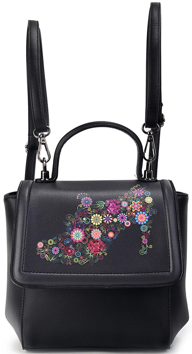 Сумка-рюкзак женская OrsOro, цвет: черный. D-434/123008Женская сумка-рюкзак OrsOro с клапаном на замке-защелке выполнена из искусственной кожи высокого качества. Сумка имеет одно вместительное отделение на пластиковой молнии. В отделении присутствуют внутренний карман на молнии, внутренний карман-перегородка, 2 внутренних кармана для телефона.Снаружи имеется внешнийзадний кармана на молнии.Сумка обладает удобной ручкой и двумя регулируемыми плечевыми лямками.