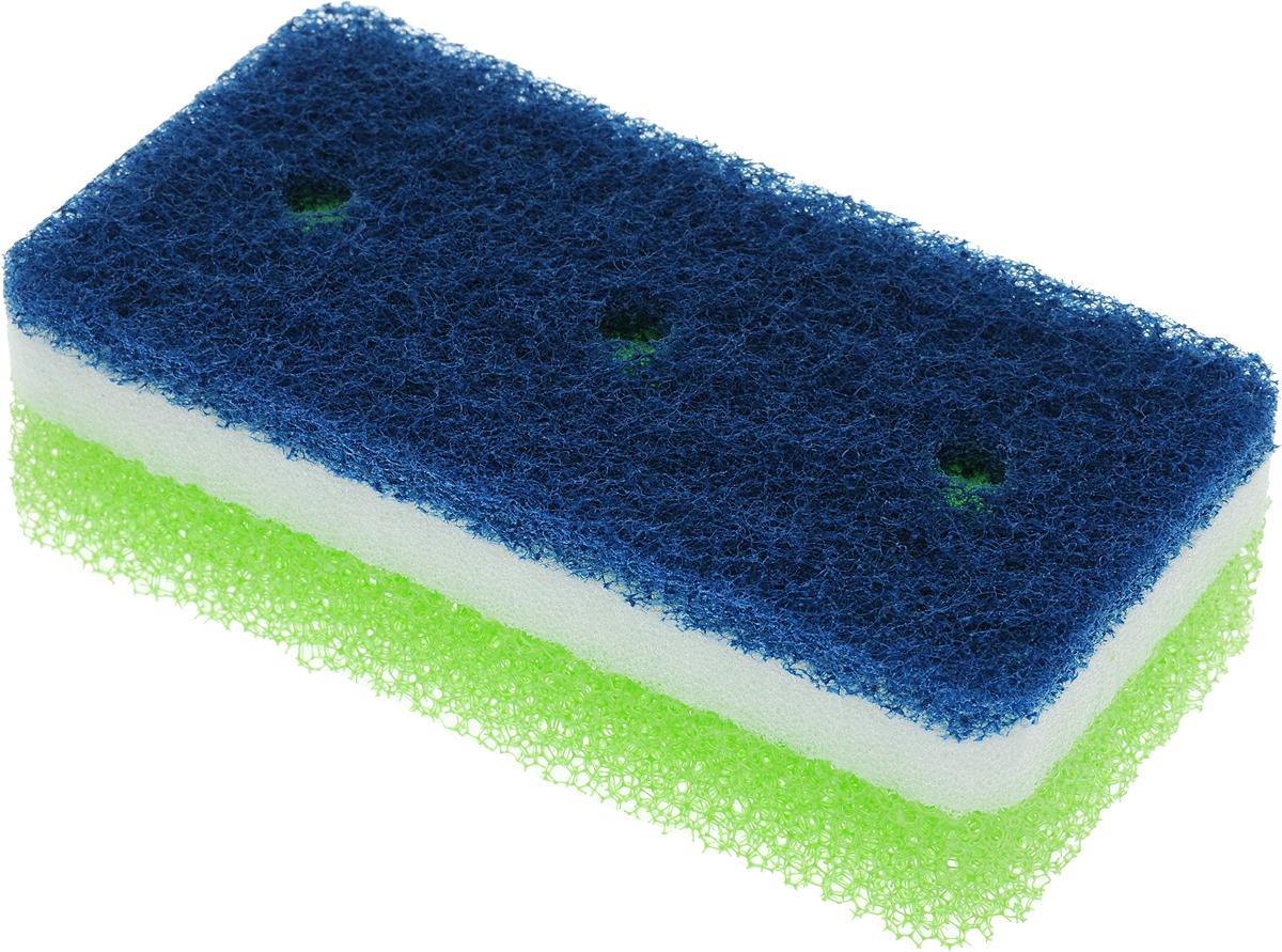 Губка для посуды Ohe Tafupon Soft Sponge, трехслойная, жесткий верхний слой504501Трехслойная губка Ohe Tafupon Soft Sponge предназначена для чистки и мытья посуды. Поверхность нетканого материала используется для удаления загрязнений с металлических сковородок и кастрюль, а поверхность с губкой - для мытья изделий из пластика, стекла, эмалированной посуды, керамики, посуды, покрытой пластиком.Особенности изделия:- в состав нетканого слоя входит абразивный материал, который легко очищает даже застаревшую грязь,- мягкая губка посередине создает обильную пену,- внешняя губка-фильтр хорошо очищает загрязнения и быстро избавляется от пены.- в губке проделаны 3 отверстия, за счет этого легко образуется пена и вода быстро выводится.Состав: нетканая поверхность – нейлон (с абразивными материалами), губка – полиуретан.Выдерживает температуру до 90°С.