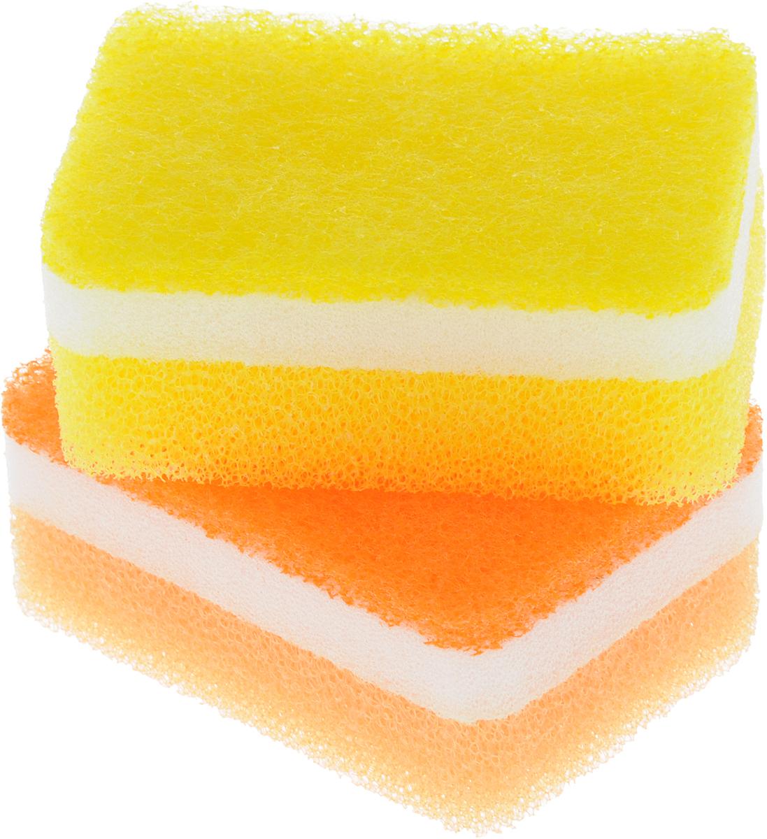 Губка для посуды Ohe Awa Qutto Soft Sponge, трехслойная, верхний слой средней жесткости, 8 х 6 х 3,5 см, 2 шт507106Трехслойная губка Ohe Awa Qutto Soft Sponge для чистки и мытья изделий из пластика, стекла, эмалированной посуды, керамики, посуды, покрытой пластиком, кухонных приборов из нержавеющей стали. Особенности изделия:- в губке проделаны 3 отверстия, за счет этого легко образуется пена и вода быстро выводится,- нетканый материал на внешней стороне губки прекрасно очищает посуду и не царапает поверхность,- мягкая губка в середине создает мелкую пену,- губка-фильтр на внешней стороне полностью очищает поверхность от грязи и быстро убирает пену,- в области, где находится губка, применено антибактериальное средство,- является безопасным продуктом, поскольку для склеивания не используются растворители и другие опасные вещества.В комплект входят 2 губки.Состав: нетканая поверхность - нейлон, губка - полиуретан. Выдерживает температуру до 90°С.