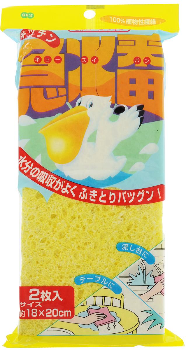Губка для уборки Ohe Kitchen Sponge, абсорбирующая, 18 х 20 х 0,8 см, 2 штSATURN CANCARDАбсорбирующая губка Ohe Kitchen Sponge, выполненная из целлюлозы, используется для мытья посуды, стен, кухонной мебели и столешниц. Она незаменима для уборки на кухне и в ванной. Превосходно впитывает влагу, легко отжимается, не оставляет разводов. Подходит для любых поверхностей. Обладает антибактериальными свойствами. Не вызывает аллергических реакций. Во влажном состоянии губка мягкая, приятная на ощупь и эластичная. В сухом состоянии целлюлоза твердеет, что препятствует размножению бактерий и микробов. В комплект входят 2 губки.Состав: 100% целлюлоза.