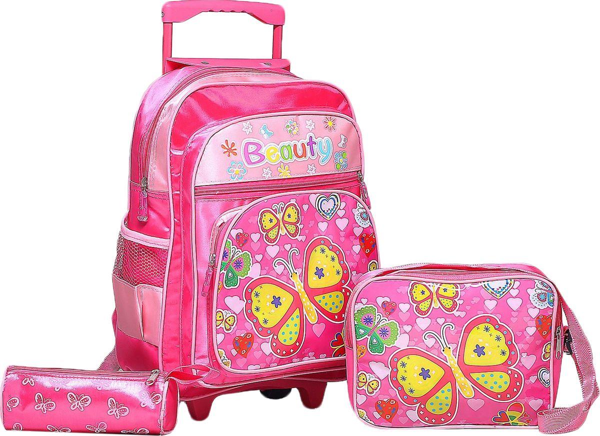 Страна Карнавалия Рюкзак Бабочки цвет розовый 1857364RA-677-3/2Маленькие, казалось бы, незначительные элементы зачастую завершают, дополняют образ, подчёркивают статус, стиль и вкус своего обладателя. Рюкзак-чемодан школьный Бабочки, на колёсах, 1 отдел, 2 наружных кармана, 2 боковых кармана-сетки, сумка на молнии, косметичка, цвет малиновый — одна из подобных деталей. Это вещь достойного качества, которая может стать прекрасным подарком по любому поводу.