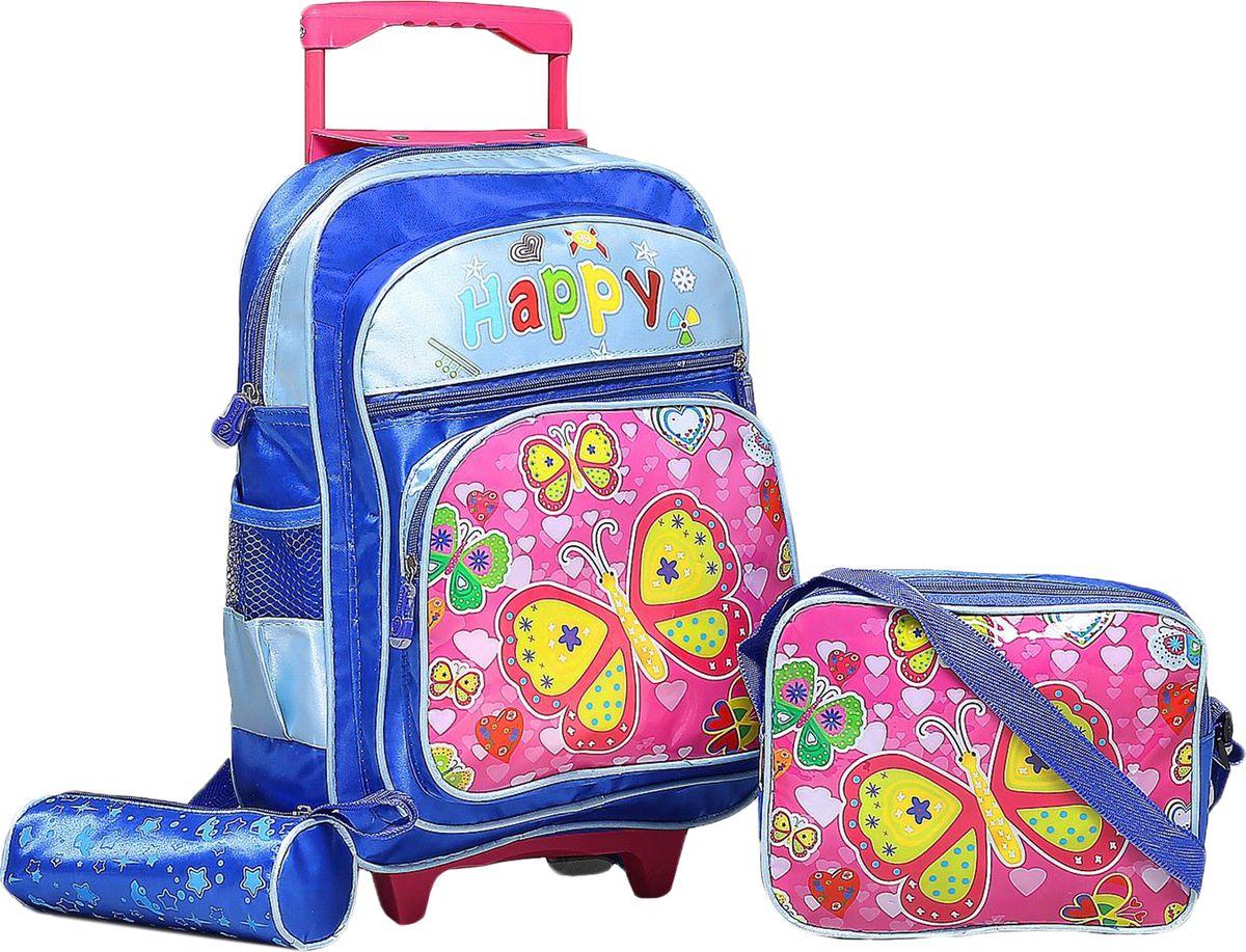 Страна Карнавалия Рюкзак Бабочки цвет синий7683Маленькие, казалось бы, незначительные элементы зачастую завершают, дополняют образ, подчёркивают статус, стиль и вкус своего обладателя. Рюкзак-чемодан школьный Бабочки, на колёсах, 1 отдел, 2 наружных кармана, 2 боковых кармана-сетки, сумка на молнии, косметичка, цвет синий — одна из подобных деталей. Это вещь достойного качества, которая может стать прекрасным подарком по любому поводу.