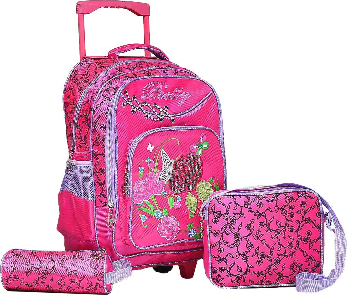 Страна Карнавалия Рюкзак Цветок цвет розовыйCREB-MT2-131Маленькие, казалось бы, незначительные элементы зачастую завершают, дополняют образ, подчёркивают статус, стиль и вкус своего обладателя. Рюкзак-чемодан школьный Цветок, на колёсах, 1 отдел, 2 наружных кармана, 2 боковых кармана-сетки, сумка на молнии, косметичка, цвет малиновый — одна из подобных деталей. Это вещь достойного качества, которая может стать прекрасным подарком по любому поводу.
