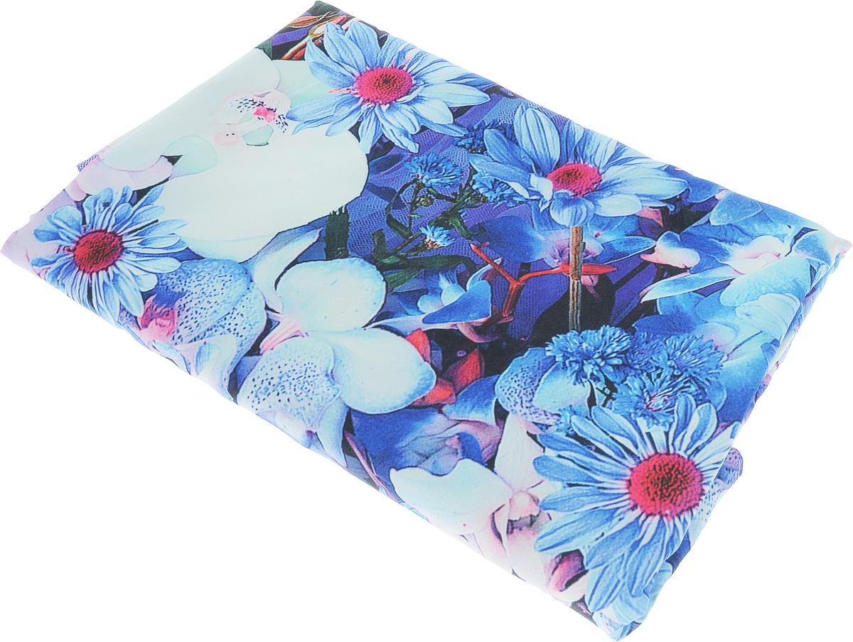 """Комплект штор Zlata Korunka """"Ламбрекен из цветов"""", на ленте, цвет: голубой, высота 270 см"""