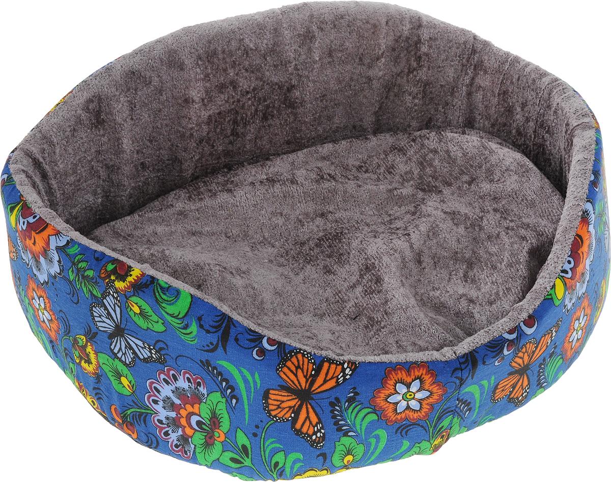 Лежак для животных GLG  Фигурный , цвет: синий, оранжевый, зеленый, 48 х 39 х 21 см