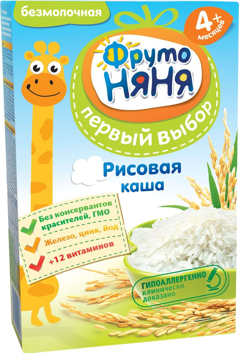 ФрутоНяня каша рисовая безмолочная с 4 месяцев, 200 гP062080идеальна для первого прикормагипоаллергенность клинически доказанаобогащена 12 витаминами и 3 минераламибез консервантов, красителей, ГМО